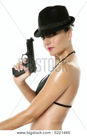 Beautiful Sexy Bikini Woman With Black Gun