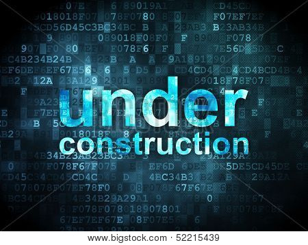 SEO web development concept: Under Construction on digital backg