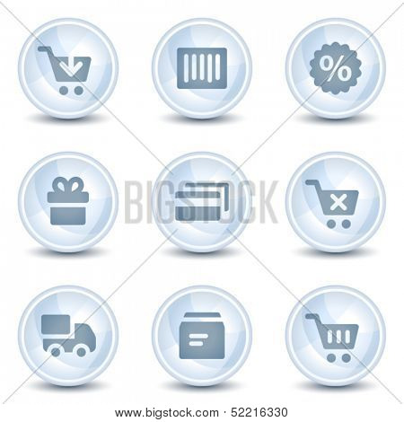 Shopping web icons, light blue glossy circle  buttons