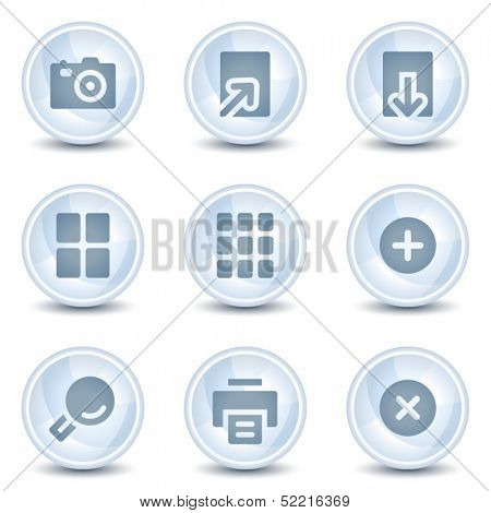 Image viewer web icons, light blue glossy circle  buttons