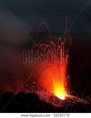 Stromboli Volcano erupting at night