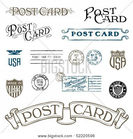 Vector Vintage Postcard and Postage Stamps. Great for any retro design.