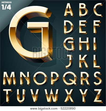 Vector illustration of golden 3D alphabet. Art Deco style. Set 1