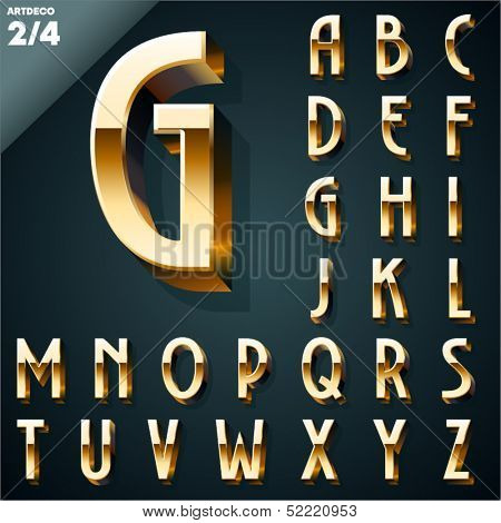 Vector illustration of golden 3D alphabet. Art Deco style. Set 2