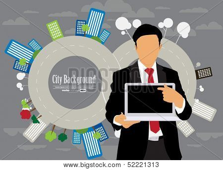 Man with laptop. Vector illustration