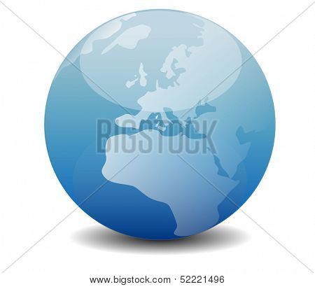 eco, bio, environment, gps, navigation, global warming and planet saving concept - blue globe illustration