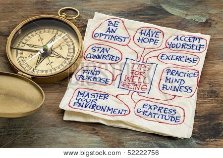 tips for well-being - a napkin doodle with a vintage brass compass