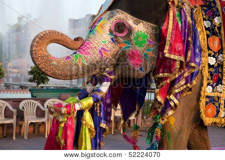 JAIPUR, INDIA - MARCH 29: people and elephants of the city are celebrating the gangaur festival on year march 29th 2009 in Jaipur, India. It is held on the day of Holi festival.