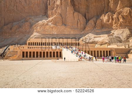 LUXOR, EGYPT - APR 10: Unidentified tourists at The Mortuary Temple of Queen Hatshepsut located near the Valley of the Kings on 10 Apr 2013. Temple was dedicated to the sun god Amon-Ra around 1500BC.