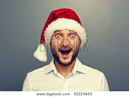 funny christmas man over grey background