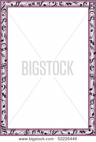 Colorful Border with music signs