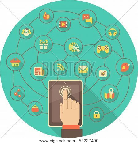 Tablet for Social Networking  in a Turquoise Circle