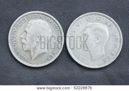 Old British coins, half crowns.