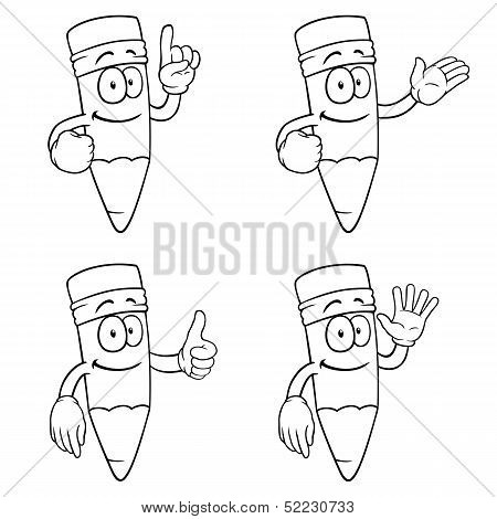 Black and white smiling cartoon pencils set