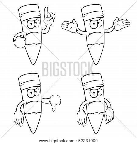 Black and white angry cartoon pencils set