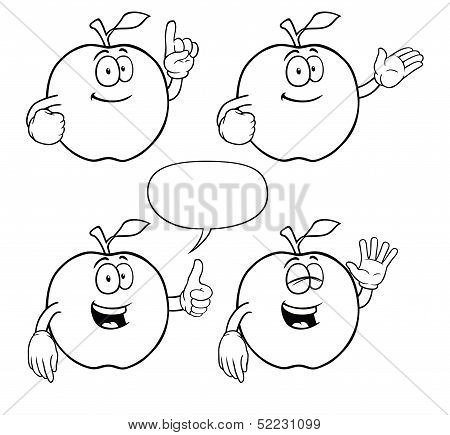 Black and white smiling apple set