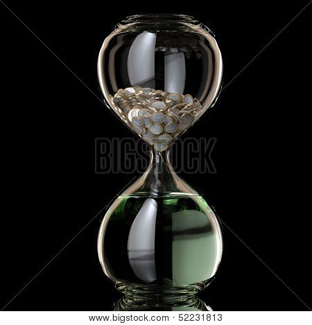 Business Inflation Conceptual illustration (Sand Clock With Coins Become Water)