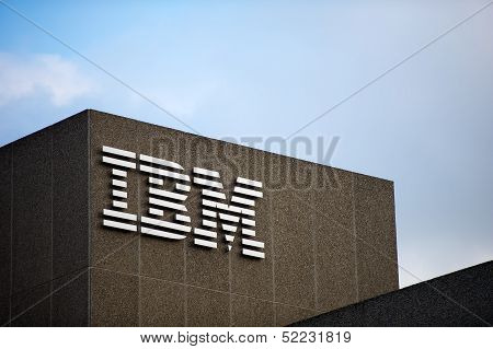 IBM logo on the IBM Client Centre building in London, UK