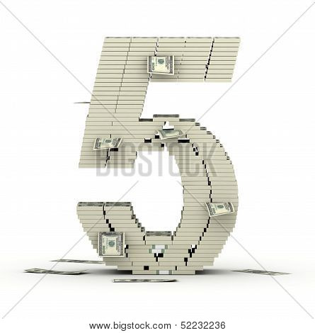 Number 5, font from dollars paks