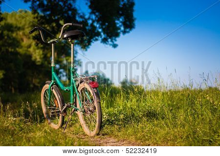 Bicycle Stands On The Footpath