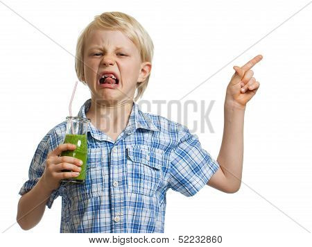 Disgusted Boy With Green Smoothie Pointing