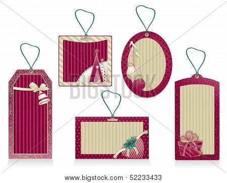 Christmas Labels Color Burgundy
