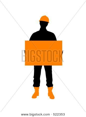 Construction Worker With Poster