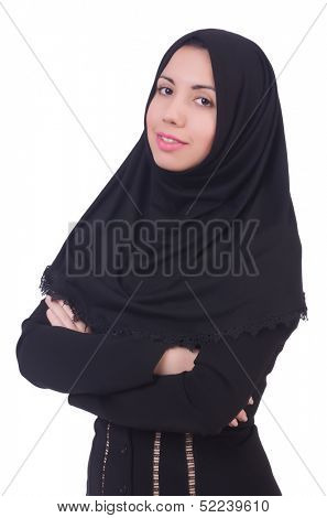 Muslim woman praying isolated on white