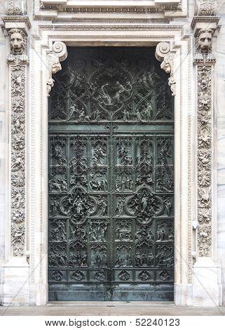 Door Detail From The Duomo In  Milan, Italy