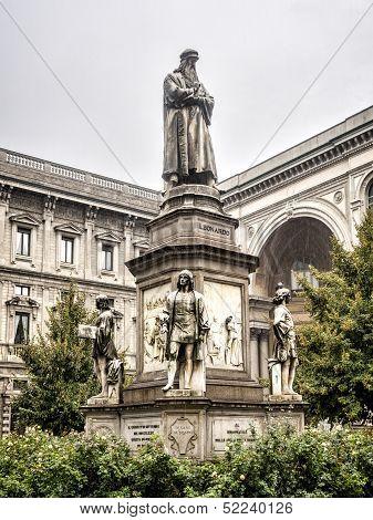 Leonardo's Monument On Piazza Della Scala, Milan, Italy