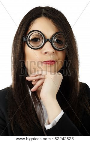 Unattractive Woman Wearing Funny Glasses