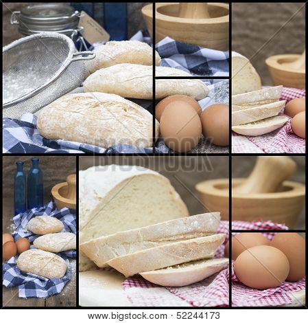 Compilation Collage Of Fresh Bread Making Stages