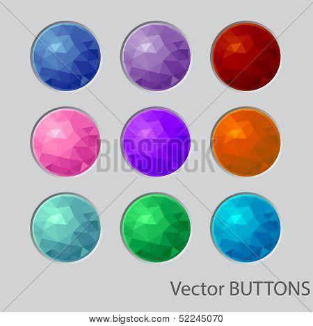 Polygonal round buttons. design elements