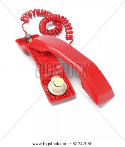 Red Telephone Handset Revealing Internal Components