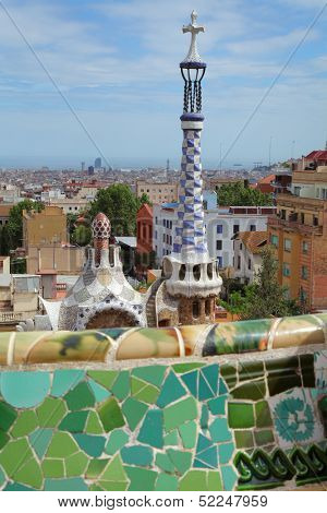 BARCELONA, SPAIN -May 9: The famous Park Guell on May 9, 2013 in Barcelona, Spain. Park Guell is the famous park designed by Antoni Gaudi and built in the years 1900 to 1914
