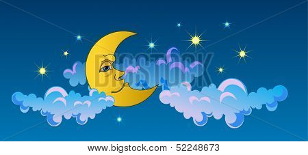 Yellow moon sleeping on clouds.
