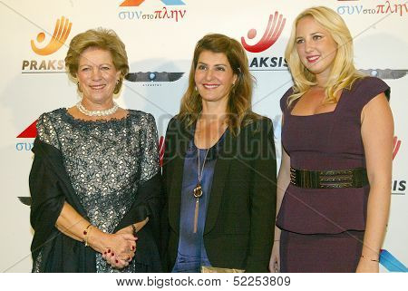 HOLLYWOOD -  Princess Theodora and Queen Anne-Marie of Greece with Nia Vardalos arrive at the Philhellenes Gala at the SkyBar on October 9, 2013 at the Mondrian Los Angeles, West Hollywood, CA.