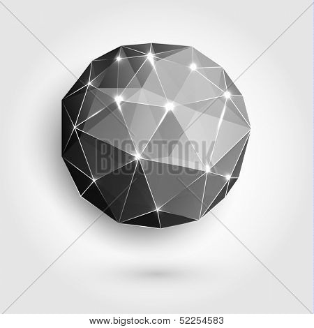 Abstract triangle-faceted sphere with sparkles - eps10