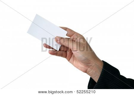 Businessman holding business name card isolated over white background