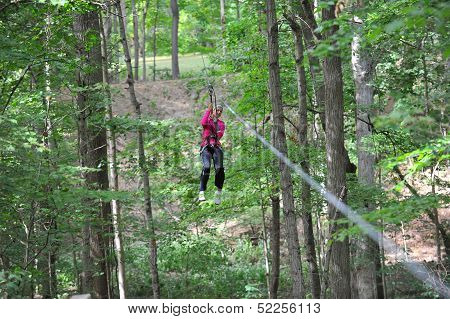 Teen Girl Zip Line