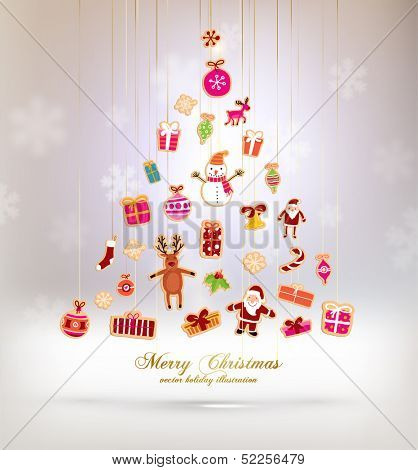 Christmas Tree Made of Xmas icons and elements, blurred snowflakes, vector