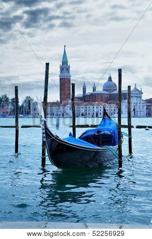 Gondola near Saint Mark square at morning - Venice, Italy