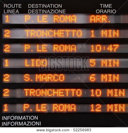 Timetable of waterbuses (vaparetto) in Venice, Italy