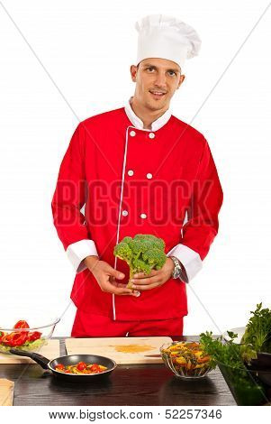 Chef Man Holding Brocolli