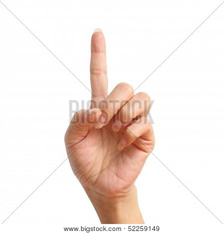 One Signal Raise Up, Making By Hand Isolated Over White Background