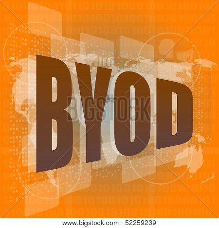 Byod Word On Digital Screen, Mission Control Interface Hi Technology