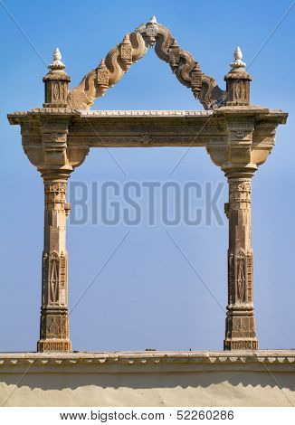 Archway at the City Palace in Udaipur in Rajasthan in western India.