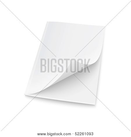 Blank magazine template with elevated cover.