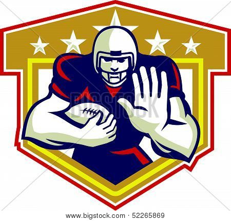 American Football Running Back Fending Shield