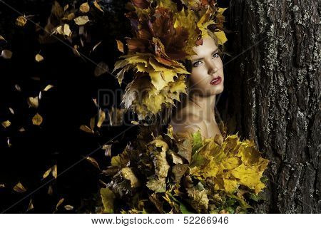 Young Woman With Yellow Leaves Is Near The Tree